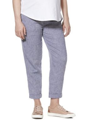 F&F Linen-Blend Under-Bump Maternity Trousers Blue 10 Short leg