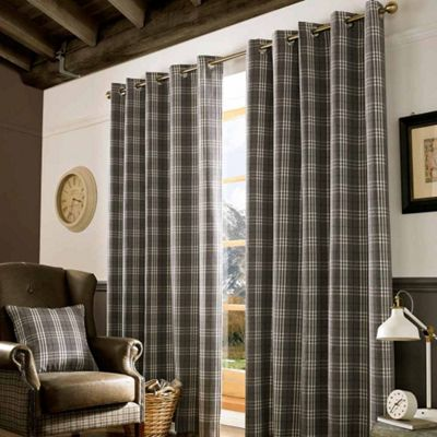 Homescapes Grey and Cream Tartan Check Eyelet Curtains, 167cm x 137cm