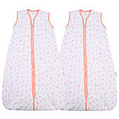 Snoozebag Baby Sleeping Bag - Butterflies & Hearts TWIN Pack (2.5 tog, 18-36 months)