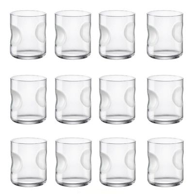 Bormioli Rocco Giove Dimpled Clear Glass Drinking Tumblers - 310ml - Pack of 12