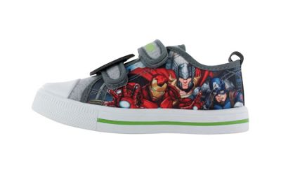 Avengers Grey Canvas Low Top Trainers Sports Shoes Hook & Loop UK Size 7