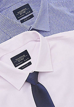 F&F 2 Pack of Easy Care Slim Fit Shirts with Tie - Pink & Navy