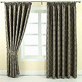 """Homescapes Grey Jacquard Curtain Abstract Aztec Design Fully Lined - 90"""" X 54"""" Drop"""