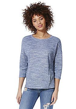 F&F Marl Front Pocket Sweatshirt - Blue marl