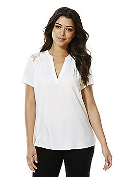 JDY Lace Yoke Short Sleeve Top - White