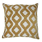 McAlister Soft Chenille Cushion - Ochre Yellow Geometric Design