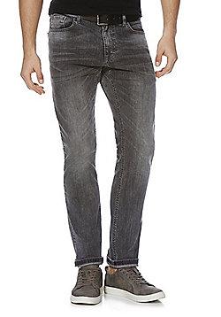 F&F Stretch Slim Leg Jeans with Belt - Grey