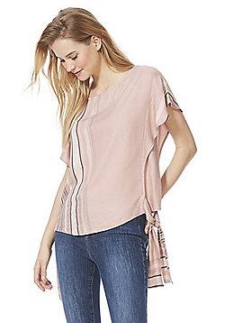 F&F Vertical Stripe Side Knot Top - Blush Pink