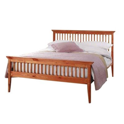Comfy Living 4ft6 Double Shaker Style Wooden Bed Frame in Caramel with Damask Memory Mattress