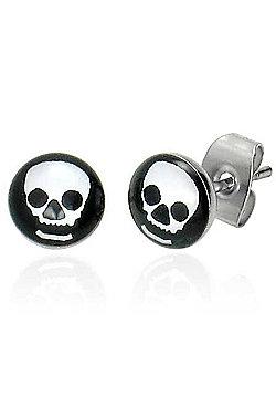 Urban Male Stainless Steel Black & White Skull Stud Earrings 7mm