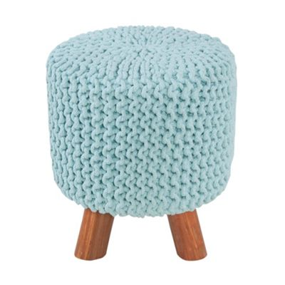 Homescapes Baby Blue Tall Knitted Footstool with Wooden Legs