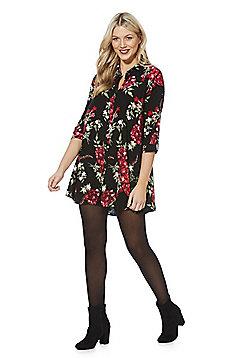 F&F Rose Print Shirt Dress - Multi
