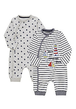 F&F 2 Pack of Boat Sleepsuits - Multi