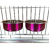 Ellie-Bo Pair of Medium Stainless Steel 0.9Ltr Pink Dog Cage/Crate Bowls
