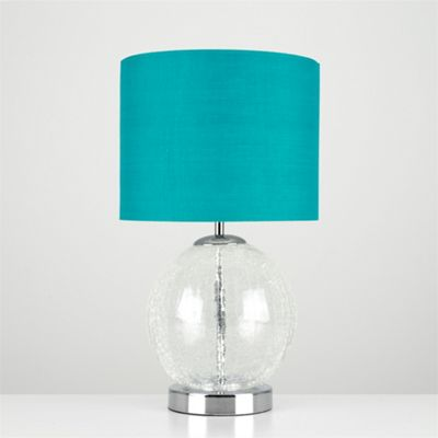 MiniSun Pablo Frosted Crackle Glass Globe LED Touch Table Lamp - Chrome & Teal