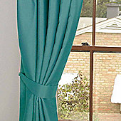 Homescapes Teal Herringbone Chevron Curtains Tie Backs Pair