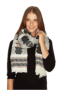 F&F Tapestry Weave Frayed Edge Scarf - Pink, Grey & White