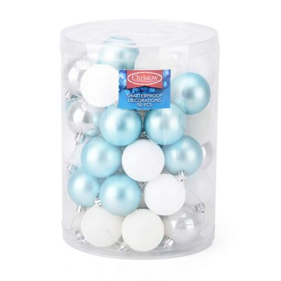 Christow 50 Assorted Christmas Baubles - Blue, Silver & White