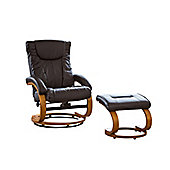 Sofa Collection Montpellier Swivel Chair With Massage Function And Footstool - Brown