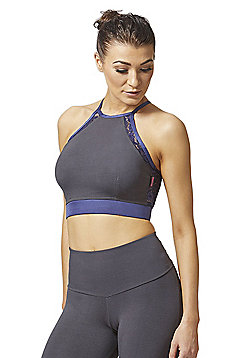Lace Cross Back Strap Gym Bra Purple-Grey - Grey & Purple