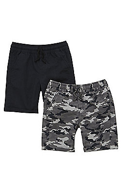 F&F 2 Pack of Drawstring Camo and Plain Shorts - Multi