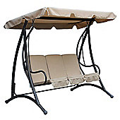 Bentley Garden 3 Seater Premium Outdoor Swing Seat Bench Chair With Beige Canopy