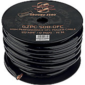 Ground Zero 0AWG Black OFC Power Cable Spool 15M