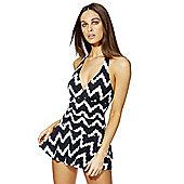 F&F Shaping Swimwear Zigzag Print Swim Dress - Black