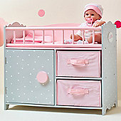 Olivia's Little World - Polka Dots Princess Baby Doll Crib with Cabinet and Cubby