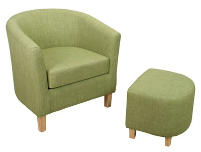 Linen Style Tub Chair & Footstool Set - Lime