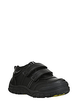 F&F Dinosaur Sole Light-Up Riptape School Shoes - Black