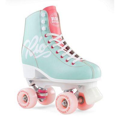 Rio Roller Script Quad Roller Skates - Teal/Coral UK 3