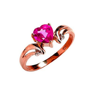 QP Jewellers Diamond & Pink Topaz Affection Heart Ring in 14K Rose Gold - Size U