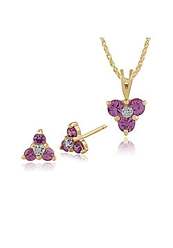 9ct Gold Genuine Pink Sapphire & Diamond Cluster Stud Earrings & 45cm Necklace Set