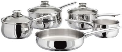 Stellar 1000 Stainless Steel Induction Ready 5 Piece Saucepan Pan Set with Glass Lids
