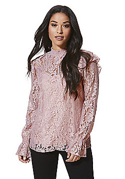 Vila Lace High Neck Bell Cuff Top - Dusty pink