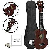 Mad About Left Handed Natural Soprano Ukulele for Beginners with Bag