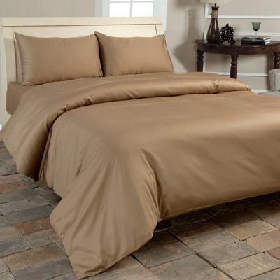 Homescapes Brown Organic Cotton Duvet Cover Set 400 Thread count, Single