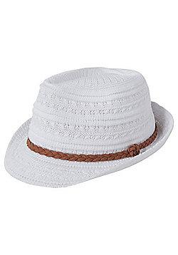 F&F Plaited Hatband Foldable Trilby - White