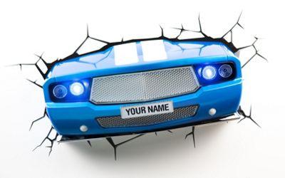 3D Light FX Blue Classic Car Night/Safety Wall Light