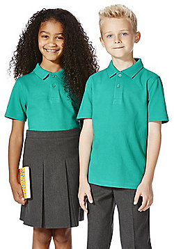 F&F School 2 Pack of Unisex Polo Shirts with As New Technology - Jade