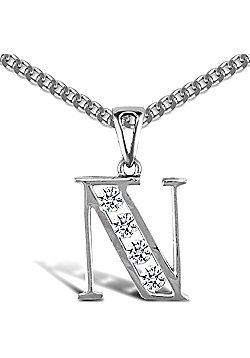Sterling Silver Cubic Zirconia Identity Pendant - Initial N - 18inch Chain