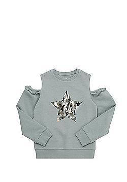 F&F Cold Shoulder Sweatshirt - Green