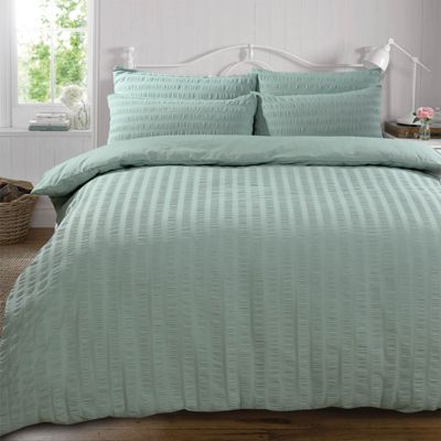 Highams Seersucker Duvet Cover with Pillowcase Set, Duck Egg Blue - Single