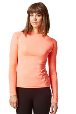 Yoga Long Knitted Sleeve Panel Top Coral M