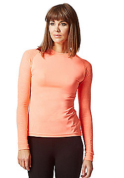 Yoga Long Knitted Sleeve Panel Top Coral - Coral