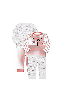 F&F 2 Pack of Cat Print Pyjamas - White & Pink