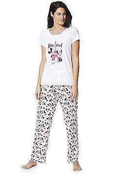 Disney Love Struck Mickey and Minnie Pyjamas - White