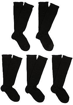 F&F 5 Pair Pack of Fresh Feel Knee High Socks - Black