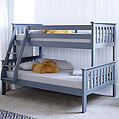 Happy Beds Atlantis Wood Kids Triple Sleeper Bunk Bed with 2 Memory Foam Mattresses - Grey - 4ft Small Double